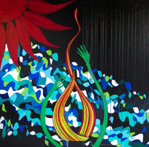 Abstract, Surreal Painting by Mixed Media Artist, black, Red, Green, Sunshine
