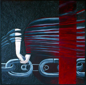 Chain Link and Hands with Retro Automobile Stripes
