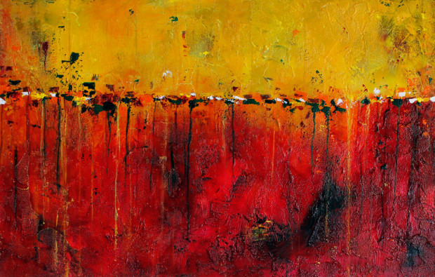 Contemporary Art by Oregon Artist, Raining Fire in the Sky from Colorado Rocky Mountain High