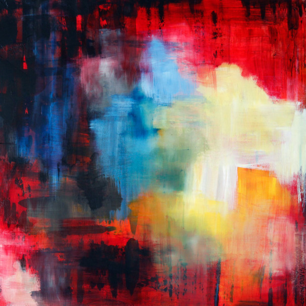 Oregon Artist, Contemporary Art, Red, Yellow, Loose Brushstrokes