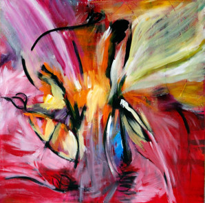 Blue, Pink, Yellow, Loose Brushstrokes, Abstract Expressionism, Abstract