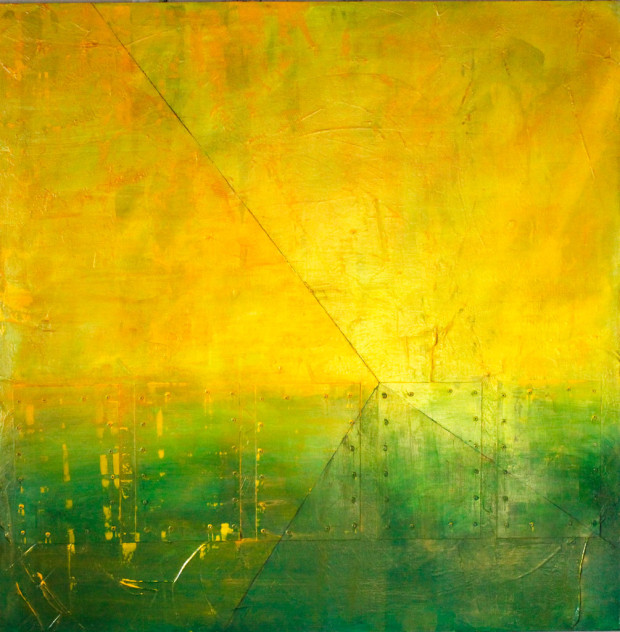 Yellow, Loose Brushstrokes, Abstract Expressionism, Abstract, Blended Paint, Blend, Green