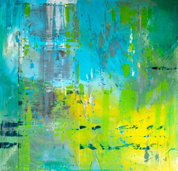 Blue, Green, Yellow, Loose Brushstrokes, splatter Painting, Pollock