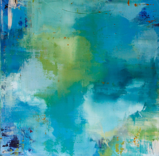 Contemporary Art, Blue, Green, Yellow, Art, Painting, Abstract Expressionism
